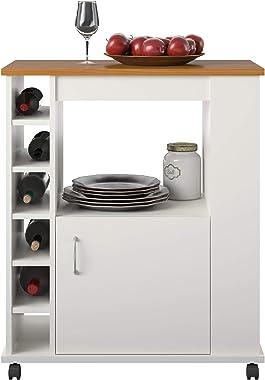 Ameriwood Home Williams, White Kitchen Cart