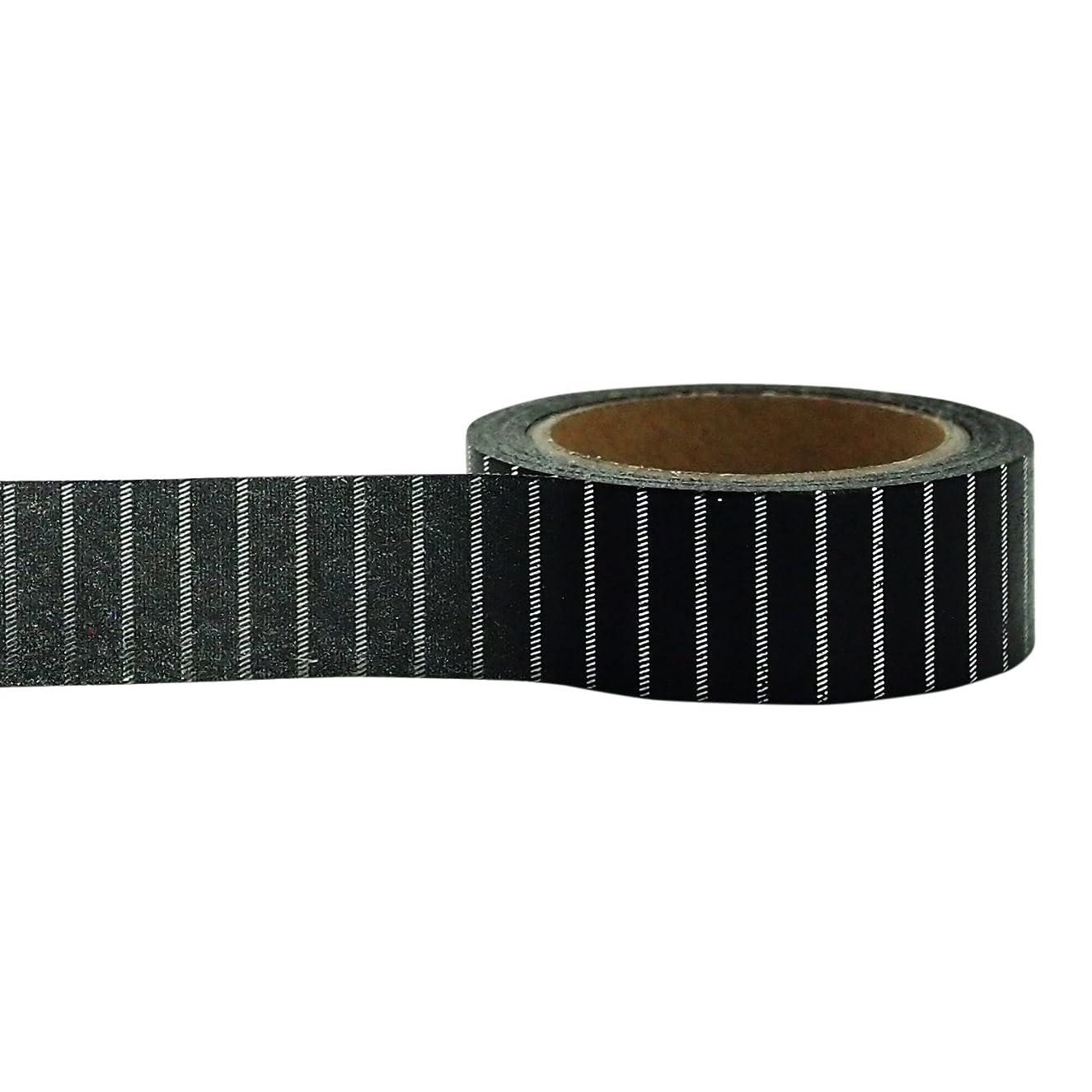 Little B 100435 Decorative Foil Paper Tape, Silver Black Pin Stripe
