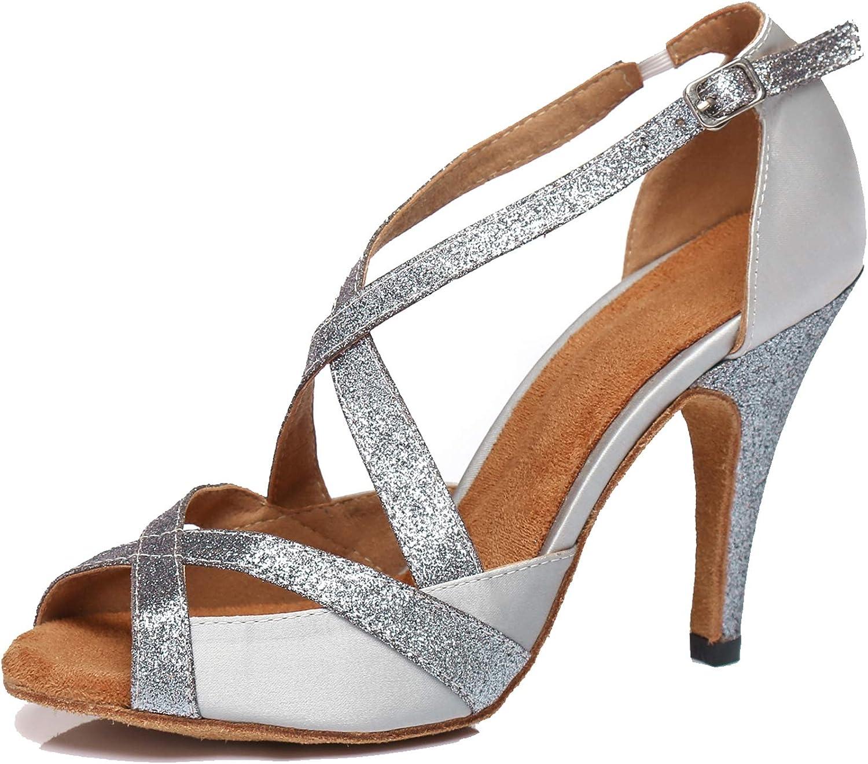 Minishion Women's Latin Salsa Stiletto High Heel Satin Glitter D