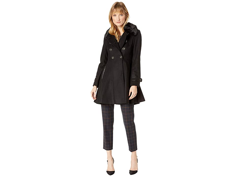 Via Spiga - Via Spiga Double Breasted Faux Fur Club Collar Fit 'n Flare Coat