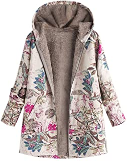 Dubocu Women's Winter Warm Outwear Floral Print Hooded Pockets Vintage Oversize Coats