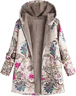 Womens Winter Warm Hoodie Floral Print Hooded Pockets Vintage Oversize Coats