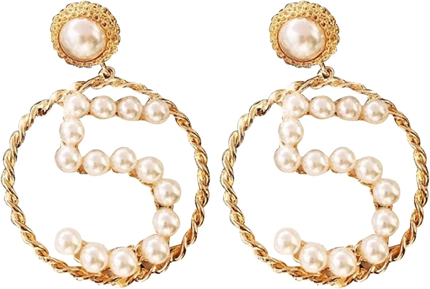 Earrings Fashion Simple Number 5 Large New color Pearl Ribbon Faux shipfree