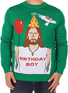 Tipsy Elves Men's Ugly Christmas Sweater - Happy Birthday Jesus Sweater Green