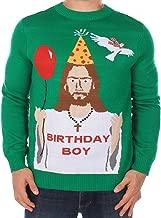 Tipsy Elves Men's Ugly Christmas Sweater - Happy Birthday Jesus Sweater Green