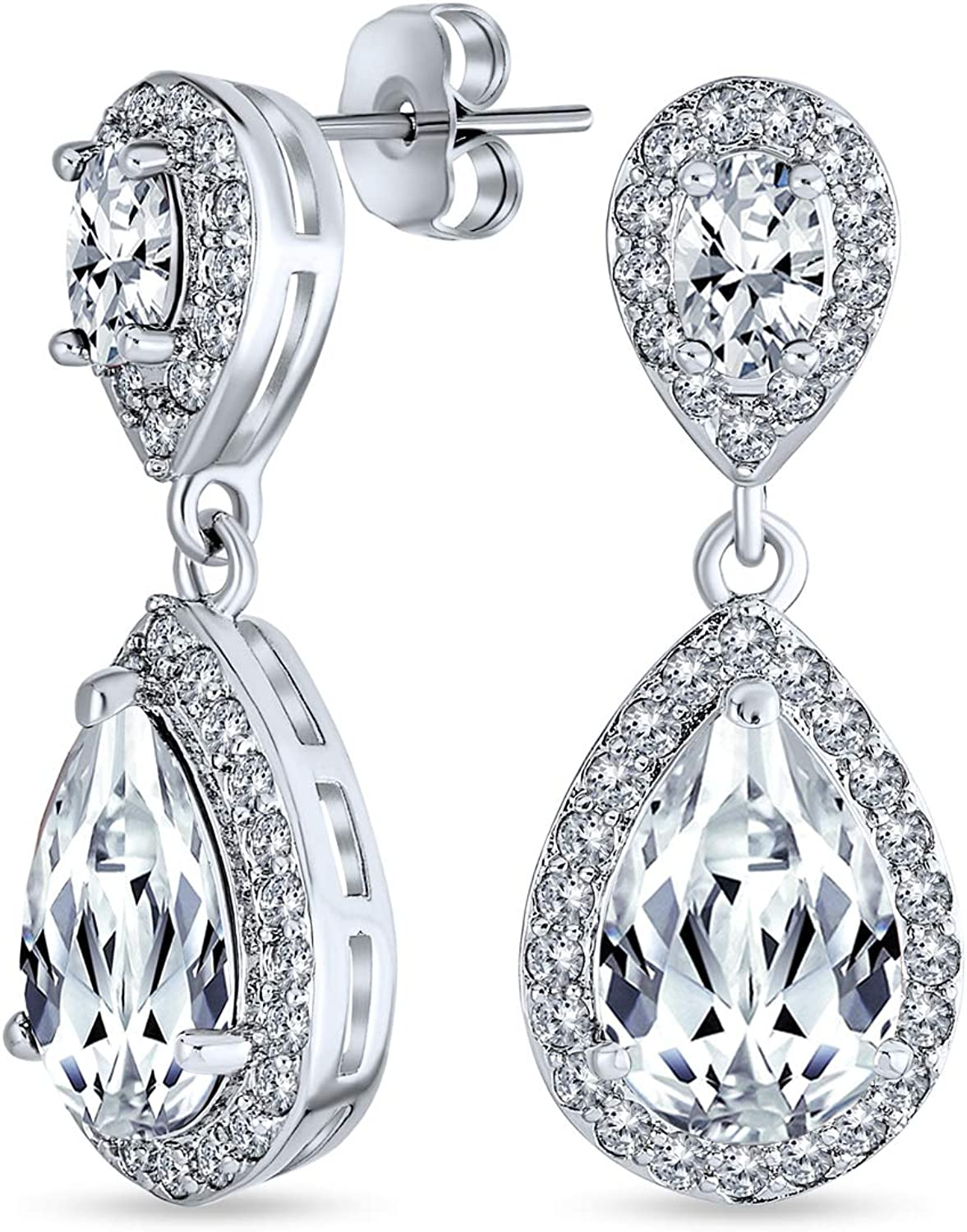 Bridal Fashion Pave AAA CZ Halo Pear Shaped Teardrop Dangle Statement Earrings For Women More Simulated Gemstone Colors