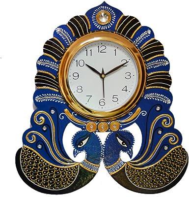 eCraftIndia Handcrafted 2 Peacocks Decorative Papier-Mache and Wooden Wall Clock (28 cm x 3 cm x 26 cm, KWC652)