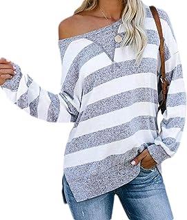 desolateness Women's Casual Side Split Color Block Stripes Long Sleeve Loose Shirt Blouse