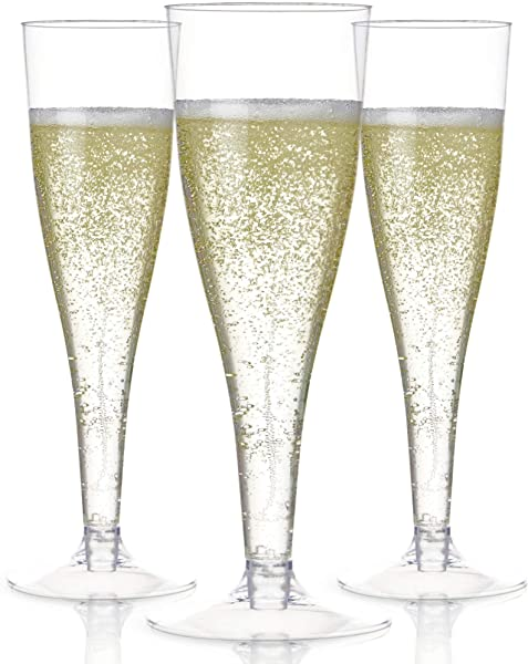 100 Plastic Champagne Flutes Disposable Clear Plastic Champagne Glasses For Parties Clear Plastic Cups Plastic Toasting Glasses Mimosa Glasses Wedding Party Bulk Pack