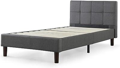 Zinus (ジヌス) すのこ ベッド フレーム シングル 36cm ヘットボード付き 布張り スクエアスティッチ Upholstered Square Stitched【日本正規品】