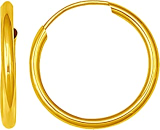 14K Solid Yellow Gold Endless Loop Hoop Timeless Earrings 2 mm Gauge/Thickness Available in Multiple Diameters - Segment Septum Lip Nose Round Hoop Tragus Helix Cartilage