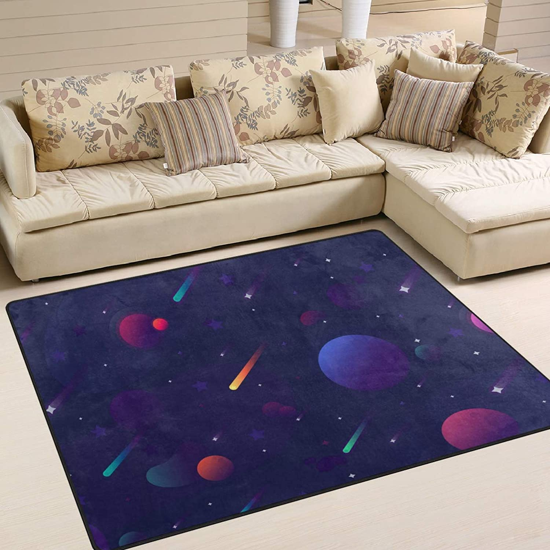 Space Planet Meteor Stars Area Rugs 80 x 58 Inch Door Mats Indoor Polyester Non Slip Multi Rectangle Carpet Kitchen Floor Runner Decoration for Home Bedroom Living Dining Room