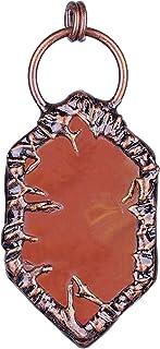 قلادة من حجر العقيق الطبيعي مع حافة من خليط معدني للنساء والرجال، قلادة من المجوهرات بقطع عقيق مصقولة مع حبل