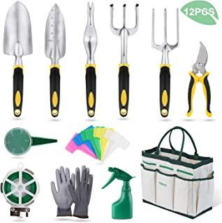YISSVIC Garden Tools Set 12 Piece Heavy Duty Gardenin Kit Cast Aluminum with Soft Rubberized Non-Slip Handle, Durable Storage Tote Bag and Pruning Shears, Gardening Supplies Gifts for Men Women