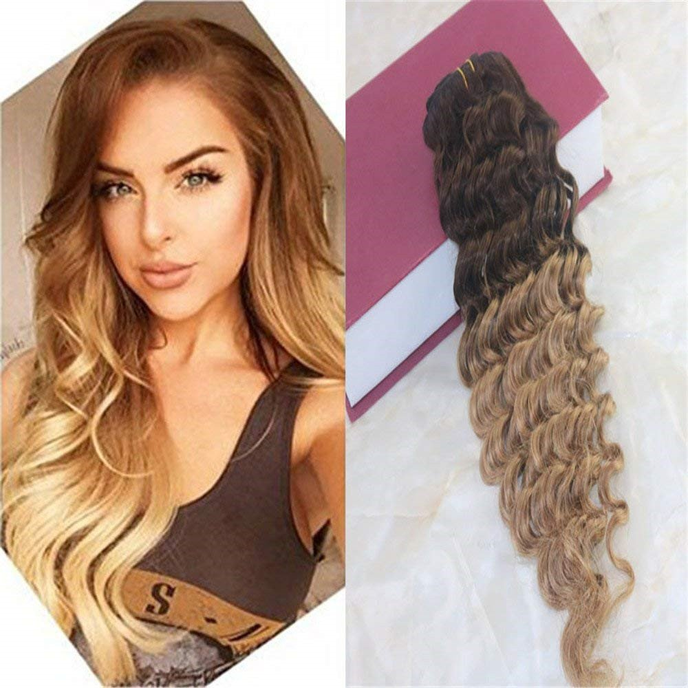 7Pcs 120g Ombre Colour Special store sale item #4Dark Brown #27 in Honey Clip to Blonde