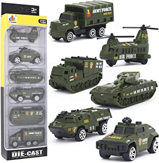 DESONG Alloy Military Truck Set Mini Pocket Size Models Play Vehicles Toy for Kids Boys Party Favors Cake Decorations Topper Birthday Gift,6Pcs Set