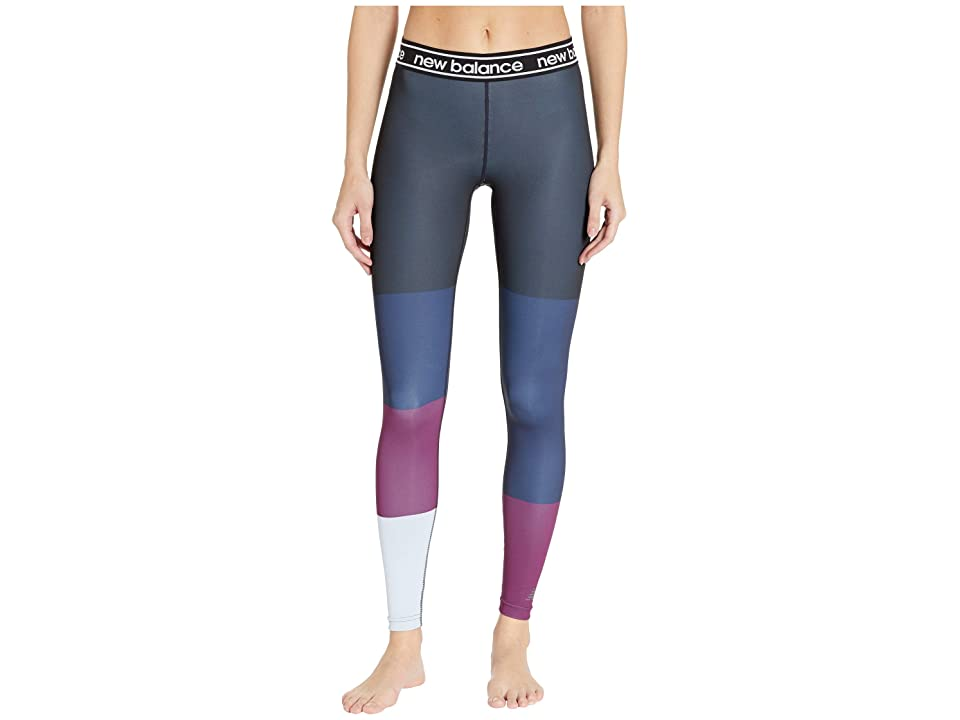 New Balance Printed Accelerate Tights (Claret/Black/Ice Blue) Women
