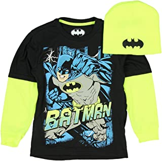 Batman Boy's Black Long Sleeve Graphic Shirt with Neon Beanie (X-Large 14/16)