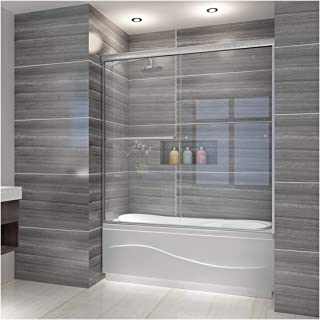 ELEGANT 58.5 in. - 60 in. W x 62 in. H Bypass Sliding Bathtub Door, 1/4 in. Clear Shower Glass Panel Tub Glass Door, Brushed Nickel Finish