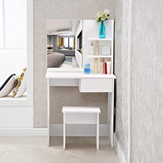 TUKAILAi Witte kaptafel set met kruk en spiegel set witte make-uptafel 1 lade en plank met 2 niveaus voor opberghoek voor ...