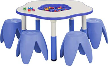 ECR4Kids Flower Resin Dry-Erase Activity Table with 4 Stacking Stools – Adjustable Table with Removable Storage Bin for STEAM