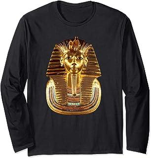 ファラオツタンカーメンマスクティー。古代エジプトのツタンカーメン王 長袖Tシャツ