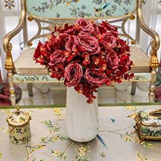 YATAI 7 Heads Artificial Rose Flowers Bunch Real Looking Fake Roses with Stem for Valentine DIY Wedding Bouquets Centerpie...