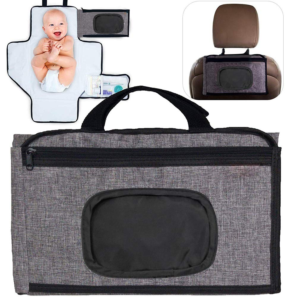 Portable Diaper Changing Pad with Front Wipe Pocket - Waterproof Baby Travel Changing Station for Toddlers Infants & Newborns (Grey)