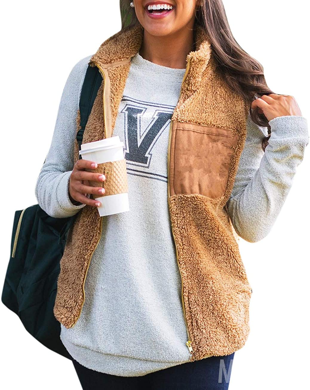 Grimgrow Womens Casual Sherpa Fleece Zipper Vest Lightweight Sleeveless Cardigan