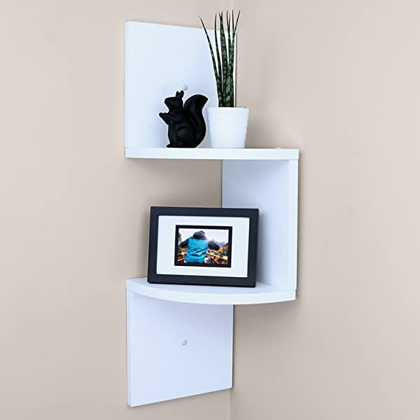 Ballucci Small Corner Shelf 2 Tier 5 Pcs 7 75 X 7 75 Per Tier Floating Wood Corner Shelves For Bathroom Living Room Or Office White