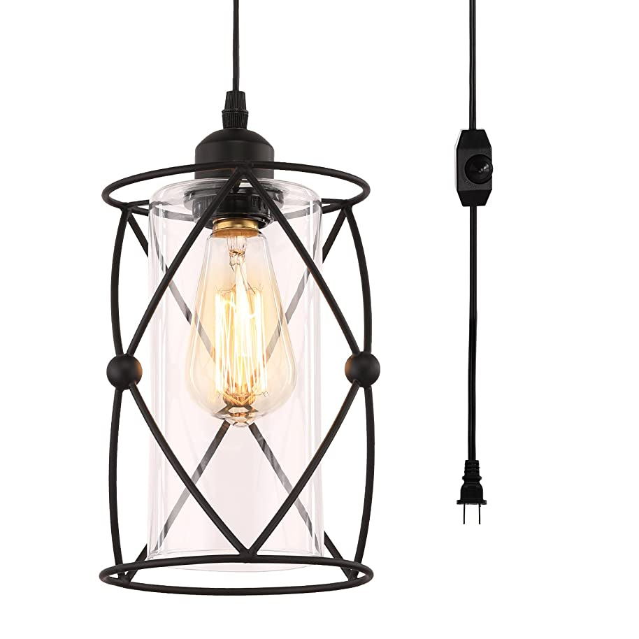 Creatgeek Plug-In Modern Industrial Glass Pendant Light with 16.4'(Ft)Cord and In-Line On/Off Dimmer Switch,Black Finish Cylinder Style