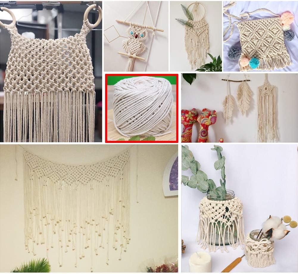 Leepesx Corde de Coton Naturel Cordon de macram/é boh/émien Naturel Plus tordu Cintre Suspendu Bricolage Fabrication de Cordes /à Tricoter