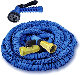 """MTB Supply Expandable Garden Hose,50-ft (Blue) Lightweight Garden Water Hose with Spray Nozzle and 3/4"""" Solid Brass Fittings"""
