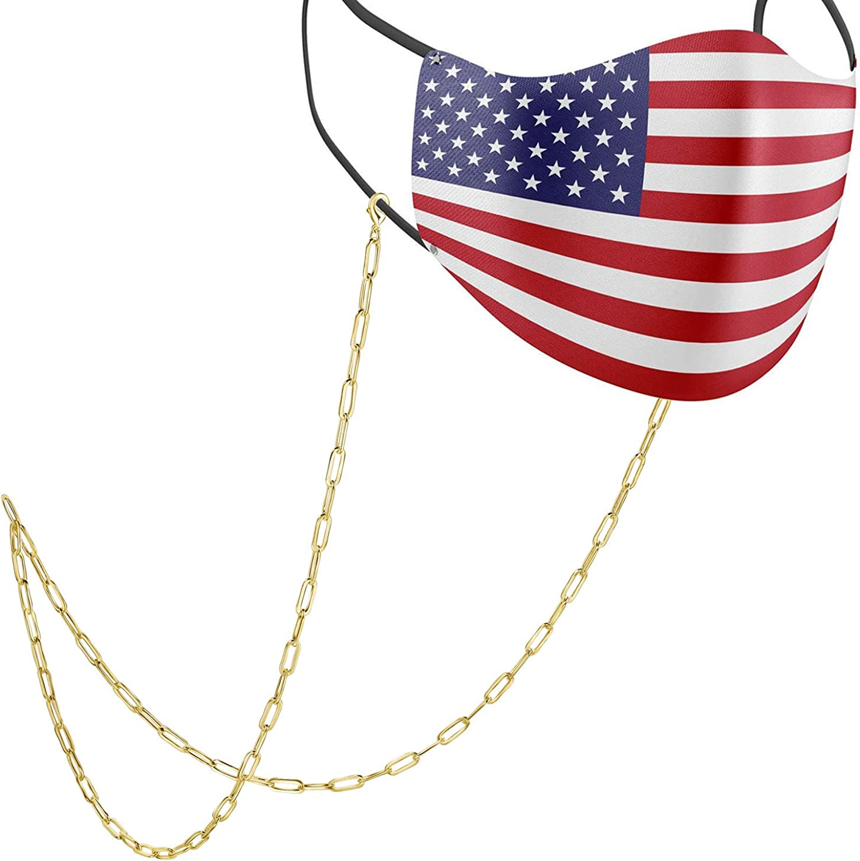 BELLETTE Face Mask Chain Necklace 14K Gold Plated Mask Chain Holder for Women Men
