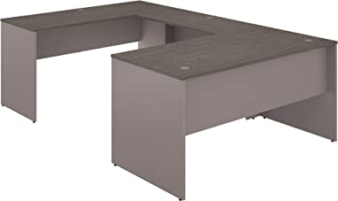 Bush Furniture Commerce 60W U Shaped Desk in Cocoa and Pewter