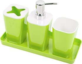 CTG Cute and Minimalistic 4-Piece Plastic Tray Bathroom Accessory Set, 10 x 7 inches, Lime Green