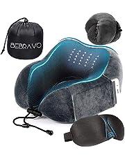 【2019年最新版】ネックピロー 低反発 U型まくら BeBravo 飛行機 旅行用 昼寝 首枕 コンパクト 通気性が良く 軽量 携帯枕 3Dアイマスク 収納袋付き