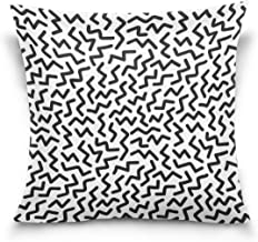 "MASSIKOA Black White Chevron Zigzag Decorative Throw Pillow Case Square Cushion Cover 20"" x 20"" for Couch, Bed, Sofa or Pa..."
