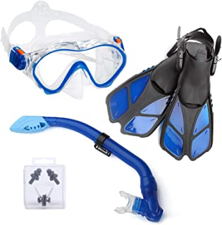 ELEMENTEX Dry Kids Snorkel Set Scuba Mask, Fins n Top Valve