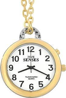 3TH Generation 5 Senses English Talking Watch - Gold-Tone Alarm Day-Date Pendant Watch (1161)