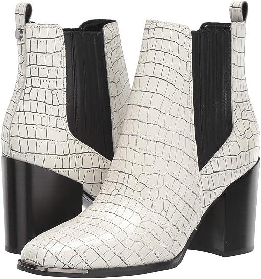 White/Black Croco Leather