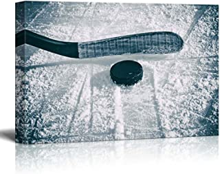 wall26 - Slapshot - Hockey Puck and Stick - Sliding Across The ice - Canvas Art Home Decor - 24x36 inches
