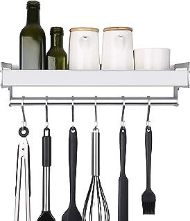 mreechan étagère de cuisine, étagère de cuisine porte-casserole organisateur de cuisine étagère à épices avec 6 crochets a...