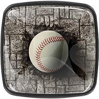 Baseball de mur de brique intégré 4 PCS Tiroir de Porte Poignée, Bouton de Meubles, Boutons de Tiroir, Boutons de Porte, P...