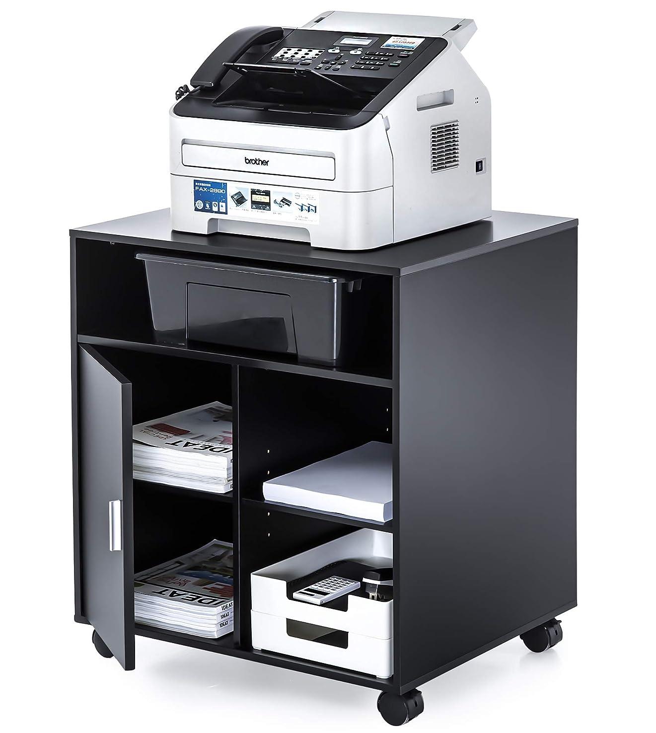 最終的に血色の良い文明化するFITUEYES プリンター台 オフィスワゴン キャスター付き 木製 黒 PS406001WB