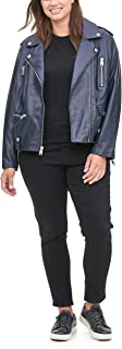 Women's Plus Size Faux Leather Contemporary Asymmetrical Motorcycle Jacket