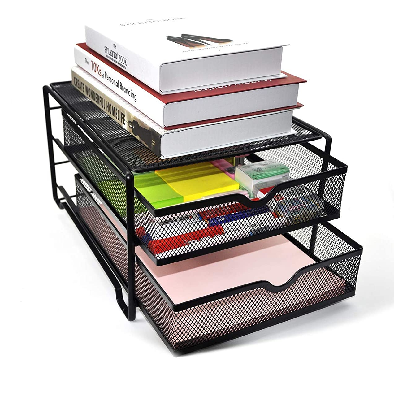 Reliatronic Upgraded 2 Tier Desk Organizer, Mesh File Organizer with 2 Drawers, Premium Solid Construction Letter Trays, Black zxkpnzzv285