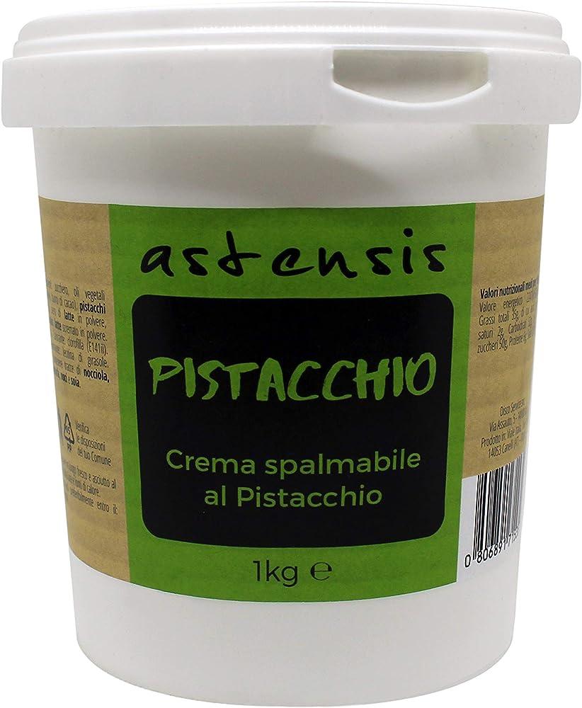 Astensis, crema spalmabile al gusto pistacchio, 1 kg, adatta per dolci, colazioni, prodotti di pasticceria
