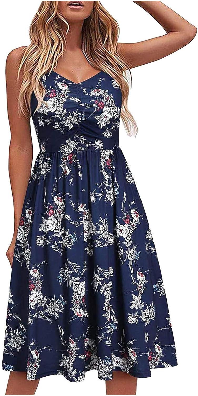 ORT Summer Dress for Women Elegant Elegant V-Neck Pure Swing Dress Casual Seaside Beach Folds Sleeveless Boho midi Sundress
