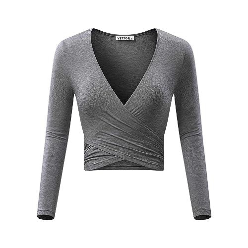 4511adf65b2 VETIOR Women's Deep V Neck Long Sleeve Unique Slim Fit Coss Wrap Shirts  Crop Tops